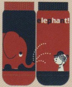 Shinzi Katoh designed this Sock at a Mismatch No Show Style with Fun in mind. At the Zoo a boy gets sprayed water by the Elephant. The Socks are Navy and Red. The word Elephant is in Cream and Navy.