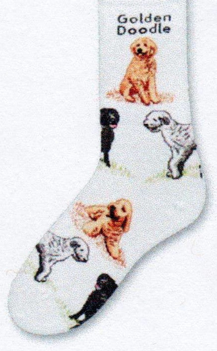 Golden Doodle is on top of this Dog Poses Sock that starts out on a White background. The Golden Doodles are in Poses around the sock and are in Tan, Black and White, Black, Black and Grey.
