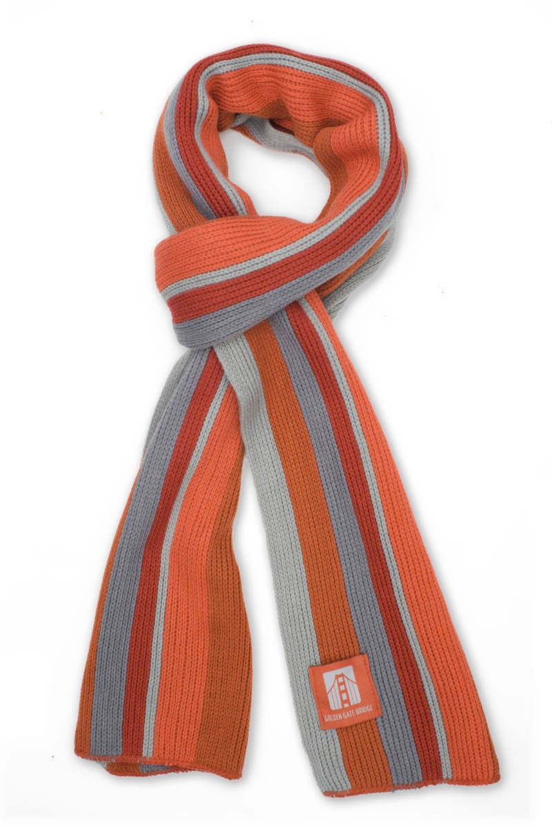 What the scarf looks like in International Orange Reds and Grey