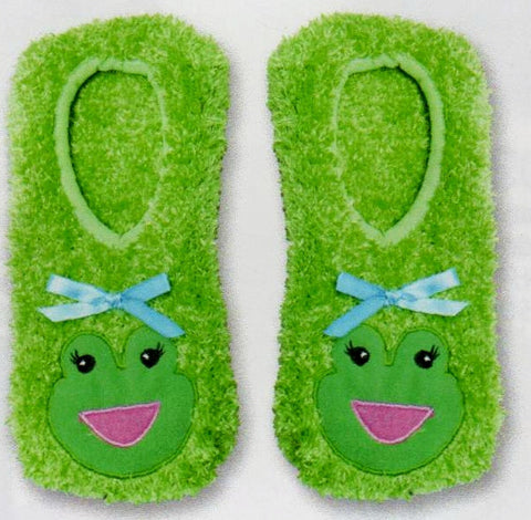 Bright Green Fuzzy Slipper Socks with Non-Skid bottoms and a Cute Frog Face over the Top of the Foot. Blue Bow Black Eyes and a Pink Mouth.