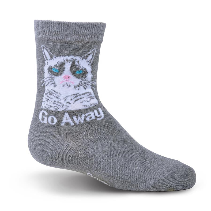 "Grumpy Cat Childrens Sock Grey background with Grumpy Cat in White. Eyes Blue Nose and Mouth Pink Meme says ""Go Away!"""