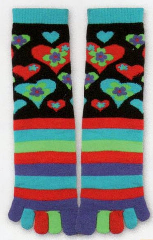 Tube Socks become Toe Socks! They are decorated with Bright Colors  of Hearts, Flowers and Stripes. Red, Turquoise, Purple and Green.