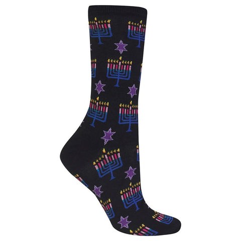 Hot Sox Menorah Hanukkah Candle Socks for Women start off on a Black background with Purple Stars.  In the Next Row is the Menorah lit up with all the Candles. The Flame is Yellow and Orange. The Candles are Lavender and Fuchsia. The Menorah itself is Teal and Royal Blue.
