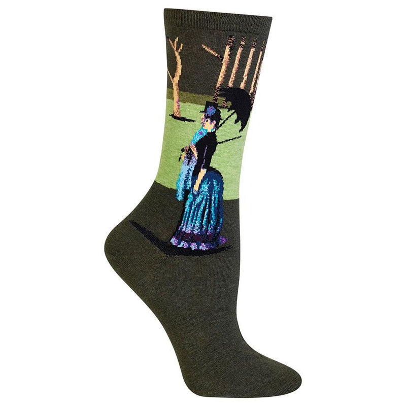 Hot Sox lets you wear Art! A Sunday Afternoon by George Seurat in Dark Brown, Green Grass and Tan Trees. The Couple stands in Blues, Black, White and Magenta.