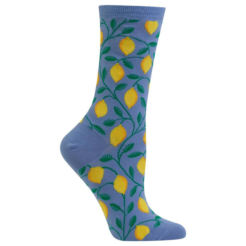Hot Sox makes a Hot Lemon Sock on a Blue background. The Lemons are ripe for picking. With Yellow and slight Orange to them. The Stems are everywhere holding many Lemons.