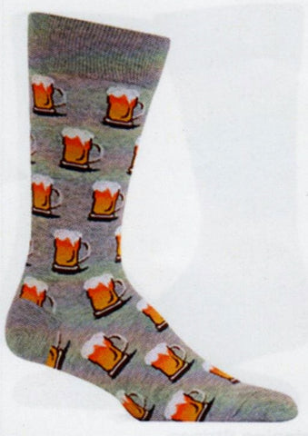 Hot Sox for Men uses a Timberwolf Heather Grey as the background for this sock. Then all over the sock in Rows are Beer Mugs full of Amber Liquid with White Foamy Heads of Suds on top. Welcome to the Beer Sock!