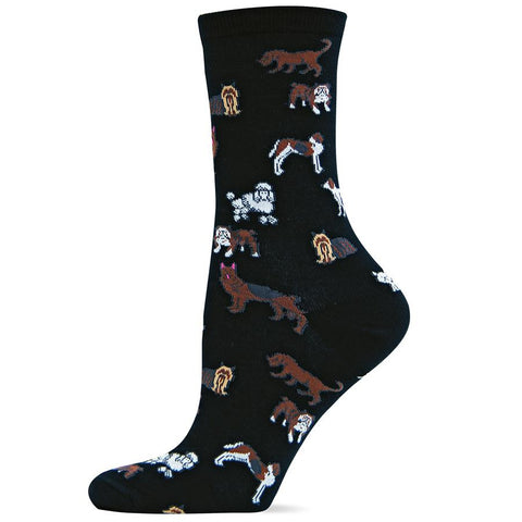Hot Sox Womens Classic Dog Sock starts on a Black background and has all different Breeds of Dogs around the Sock.