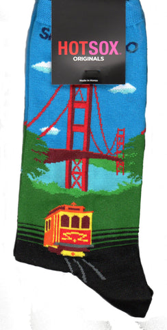 Hot Sox Womens Golden Gate Bridge Sock also includes the words San Francisco and a Cable Car with Tracks. This has the Turquoise Sky