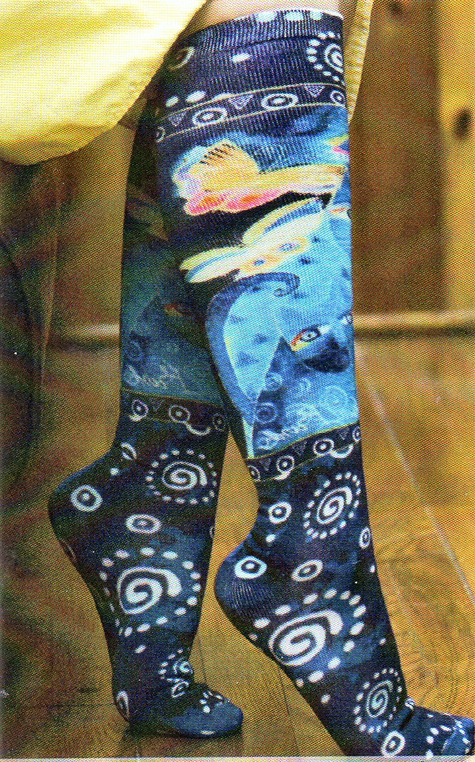 Indigo Cats Knee High Socks on a Model.