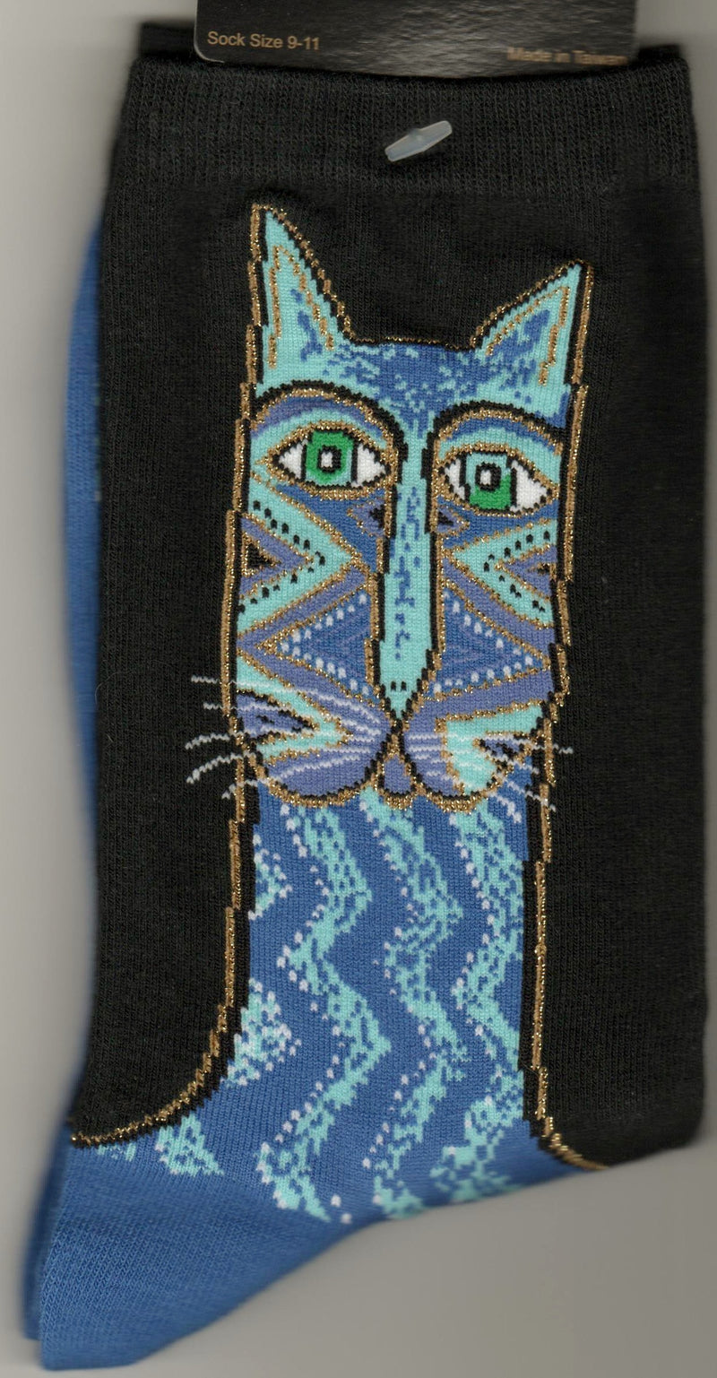 Blue Tribal Cat on Black background