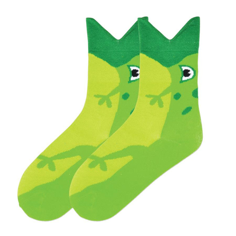 K Bell Wide Mouth Frog Sock is a Wild Bright Colored Sock. The Mouth is the Cuff of the Sock and the rest of the body makes the whole foot. You have been swallowed by a frog!
