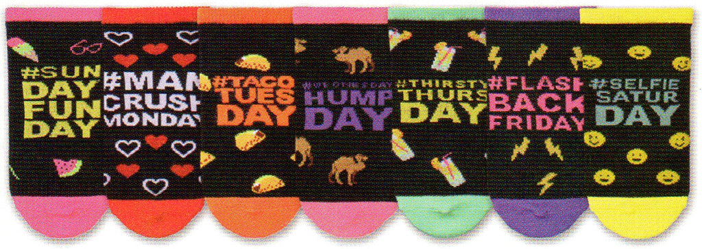 This is a 7 pair pack from Sunday to Monday in Fun Colors and Things to do for each day of the week.