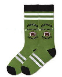 "K Bell American Made Mens American Football Sock starts out with an Olive background with Black Cuffs, Toes and Heels. With White Rugby Stripes at the Top and Bottom. ""American Football"" is in the middle of White Stars made in Bold Black Print. Beneath is a Brown and White Football and Black Stars."