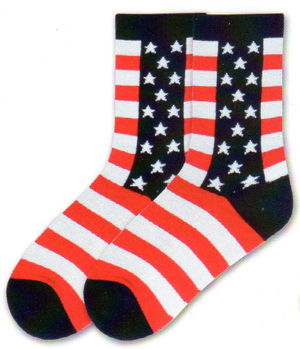 K Bell American Made Womens Stars and Stripes start with Navy on the Cuffs, Heels and Toes with a thick column going down both sides of your leg with White Stars. Then in Rows going down the Sock are White and Red Stripes.