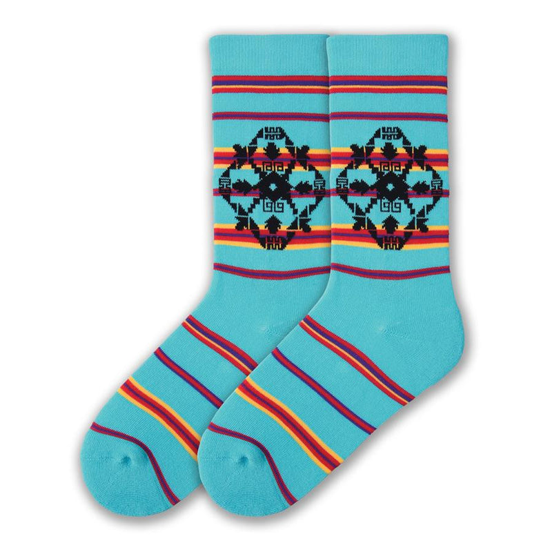 On a Jewel Turquoise background with Stripes made with Candy Apple Red, Bright Yellow and Violet this Sock features an Indian Graphic made with many Arrowheads. K Bell American Made Blanket Stripe Sock for Women is made in the USA with Imported Yarns.