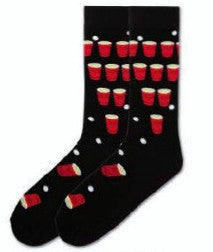 K Bell Beer Pong Socks for Men come in Large and X-Large Size. Start off on a Black background with Red Cups full of Amber Beer. The Cups are lined up for throwing the White Pong Balls into them. Some at the top of the foot and near the toes have fallen over.