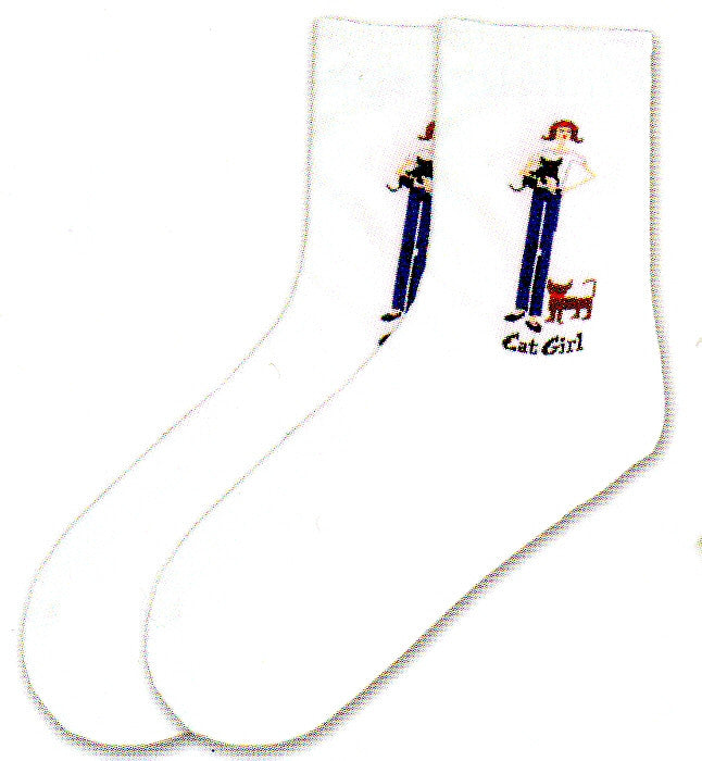 K Bell Cat Girl Sock is on a Bright White Background with a Girl dressed in Blue holding a cat in her hands and one down at her feet.