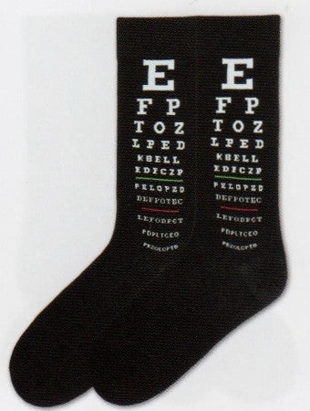 K Bell Mens Eye Chart Socks starts on a Black background with White Letters starting with the Largest E. Then they descend down the chart with one Green Line and One Red Line to check for color blindness.