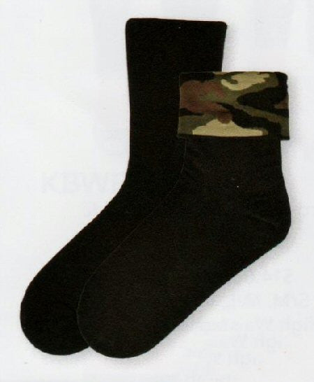 You need an all Black Sock for daytime at work this will work! After work Flip the Cuff over and you have a Camo Sock for a fun night out!