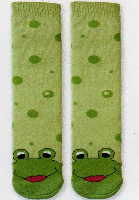 Non-Skid Tubular Slipper Sock with a Frog Face makes this Green Frog and Happy one for your feet.