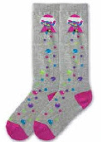 K Bell makes a Knee High for Girls with a Grey background, Fuchsia Heels and Toes. A Gumball Machine at the top drops Gumballs all down the sock!