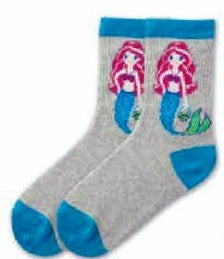 K Bell Girls Mermaid Crew Sock starts on a Grey background with Turquoise Cuffs Heels and Toes. The Mermaid has Fuchsia Hair with Fuchsia Top. Her tail is Turquoise and Light Green