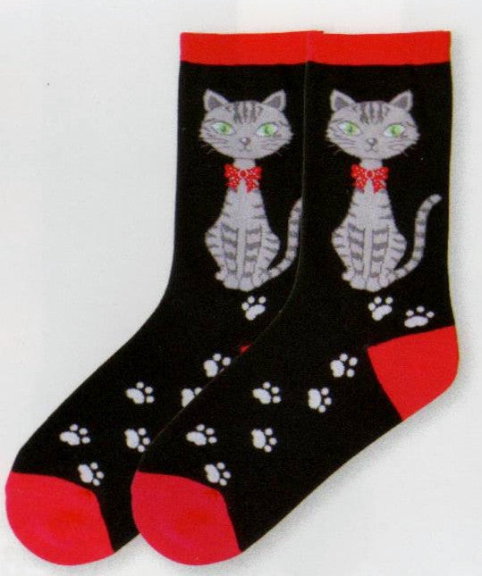 K Bell Jingle Cat Socks has a very Prim and Proper Cat with a Red Bow Tie around her neck. Perhaps she is a present for someone?