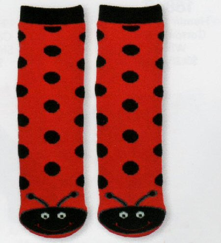 Red and Black Ladybug Kids Non-Skid Sock