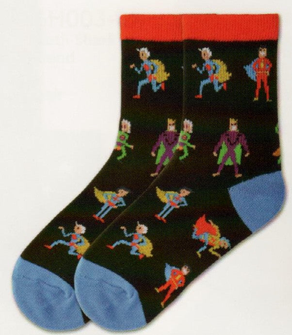 K Bell Boys Super Heroes Sock starts on a Black background. The Cuffs are Bright Red and the Heels and Toes are Bright Blue. The Super Heroes wear costumes in Red, Blue, Yellow, Green, Purple and Orange. The Super Heroes are Running and Standing.