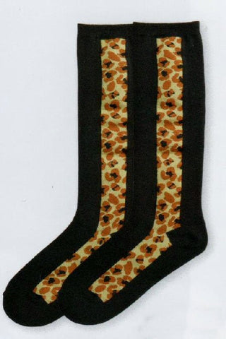 K Bell Leopard Panel Knee High Sock is a Fashion Sock starting with a Black background. On each side is a Leopard Print Panel in Lion Brown, Bole Brown and Black are the Spots.