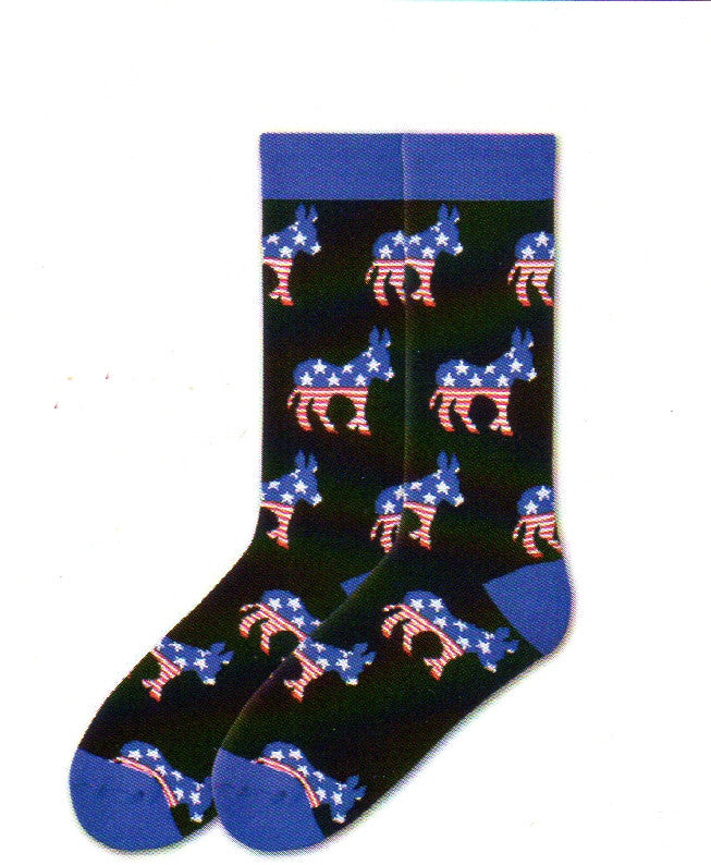 K Bell Mens American Made Democrat Sock starts on a Black background with Blue Cuffs, Heels and Toes. The Head and Back of the Donkey, the Democrat's Mascot, is Blue with White 5 point Stars. The Tail and Legs are Stripes starting with Red and then White.