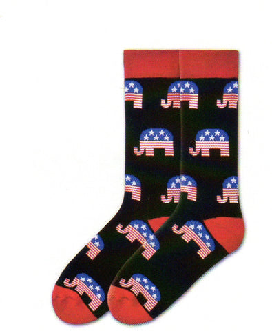 K Bells Mens American Made Republican Sock starts with Black background. Red is for the Cuffs, Heels and Toes. The Elephants are Blue with White Stars on Top and Red and White Stripes to the bottom.