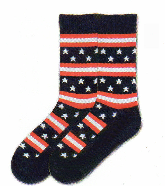 K Bell American Made Mens Stars and Stripes is another way to wear your Flag in Americana Style. Red, White and Blue are broken up with Five Point White Stars on Navy background then Red and White Stripes. Cuffs, Heels and bottom of the Foot and Toes are all Navy.