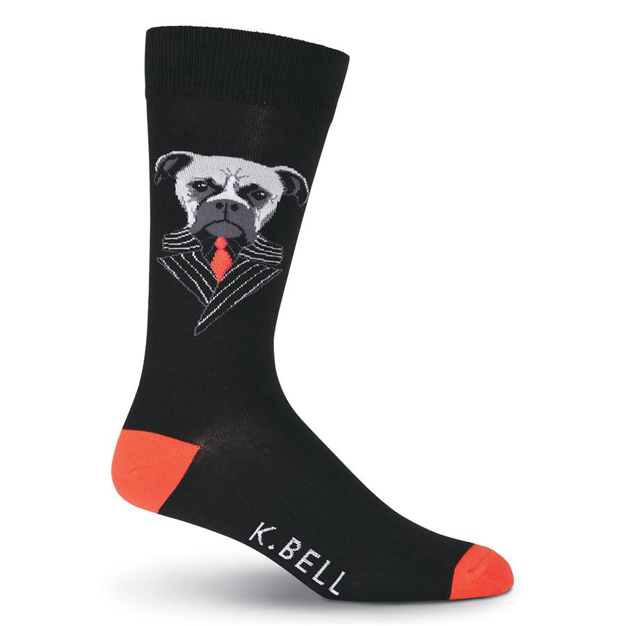K Bell Mens Boxer Suit Sock has a Boxer dog in a Pinstripe Suit. He is designed with Light Grey. Medium Grey, Dark Grey and Black. His Suit is Black with Light Grey Pinstripe. He wears a Black Shirt and Red Tie. The background is Black and the Heels and Toes are Red.