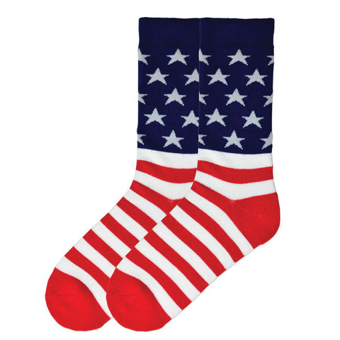 K Bell Mens American Made American Flag Sock has the Blue and Stars on top and the Red and White Stripes on the bottom. The Heels and Toes are Red.