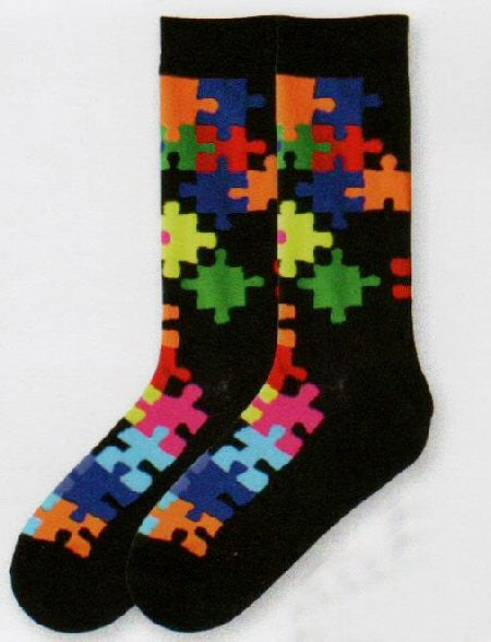 Mens Sizes K Bell Jigsaw Puzzle Socks have bright puzzle pieces in Primary and Secondary Colors. They also have Arch Compression for Supportive Fit and Reinforced Toes and Heels for Longer Wear.