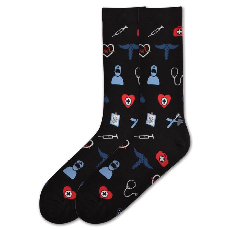 separation shoes fadc1 3d169 ... The Black Large Medical Supply Sock has a Person in Blue Scrubs, a  Syringe,