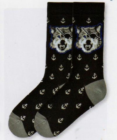 K Bell for Men Sea Wolf Sock has a Black background with a Grey, White and Black Wolf at the top surrounded by Blue. Anchors are all around the Sock. Heels and Toes are Grey.
