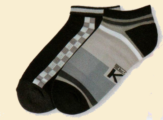 KB Sport Colorblock Stripes Low Cut 2 Pair Pack are Blocked with Blacks Greys and Whites in a Low Cut Hi Tech Sock.