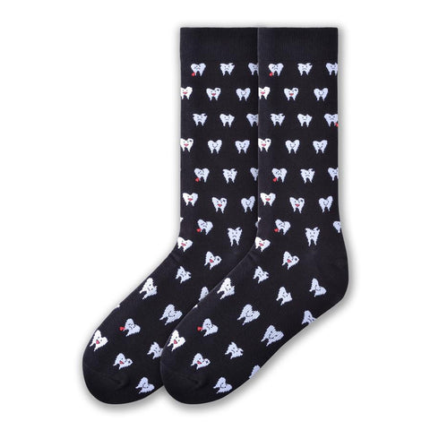 K Bell Mens Teeth Socks start on a Black background. White Teeth are emoticons with Happy, Sad and Crying Faces depending on how good or bad each tooth is doing.