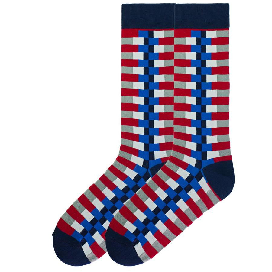 K Bell Mens Zipper Sock in Navy has Cuffs, Heels and Toes and along the Zipper all Navy with other block colors