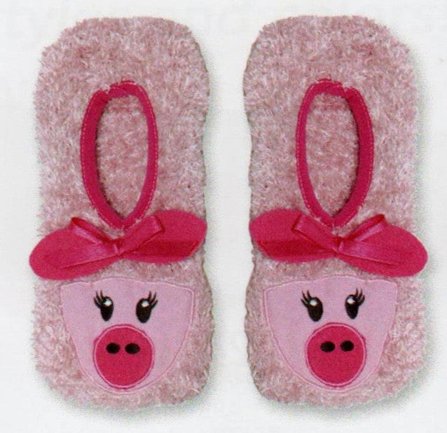 K Bell Pink Pig Non Skid Slipper Socks start with fuzzy cozy polyester Pink yarn with Rose band and Felt Ears. The Face is a Bright Pink with Rose Nose and Black Eyes. Pink Bow finishes it off!