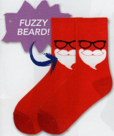K Bell Secret Santa Sock is all in Christmas Red. Then the White Santa's Beard has a Fuzzy Embellishment. Above are his Black frame Glasses.