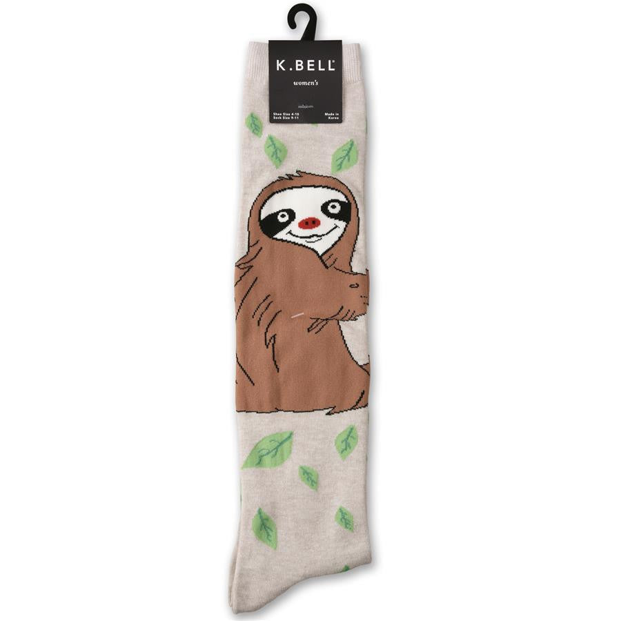 656defa4b K Bell Silly Sloth Knee High Sock is on a background of Oatmeal Heather.  Green