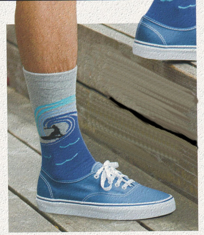 Model wearing K Bell Mens American Made Surf's Up Novelty Sock. Looks great with Blue Tennis Shoes.