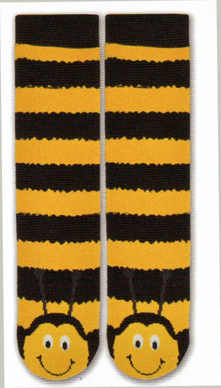 K Bell Tubular Bee Non-Skid Slipper Sock is a Funky Black and Yellow Happy Bee Sock. Black and Yellow Rows make up the Tube Sock. At the Toes and Top of Foot is the Bee Face. He is smiling.