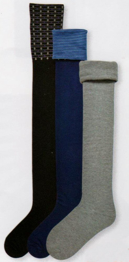 Shows How the sock can be Turned Down from OTK to Knee High in Three Looks Comes in Black and Blue Colors