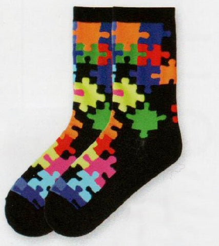 Puzzle Socks for Women are bright puzzle pieces that are in Primary and Secondary Colors.