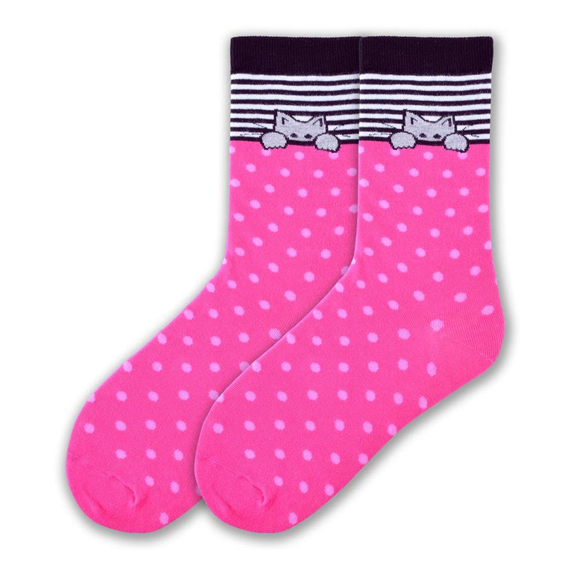 On a background of Fuchsia are Pink Polka Dots above this is a Kitty playing Peak-a-Boo! This Kitty is all outlined in Black its fur is Grey. The Cuff is Black and the welt is Black and White Rows.