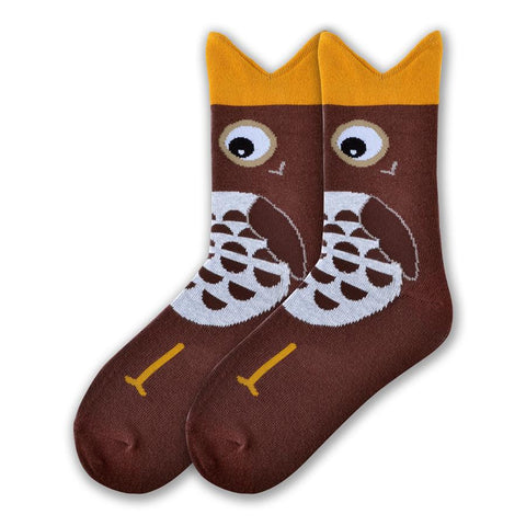 K Bell Womens Wide Mouth Owl Sock begins on a Dark Brown background with a Bronze Wide Mouth with Eyes and Feathers